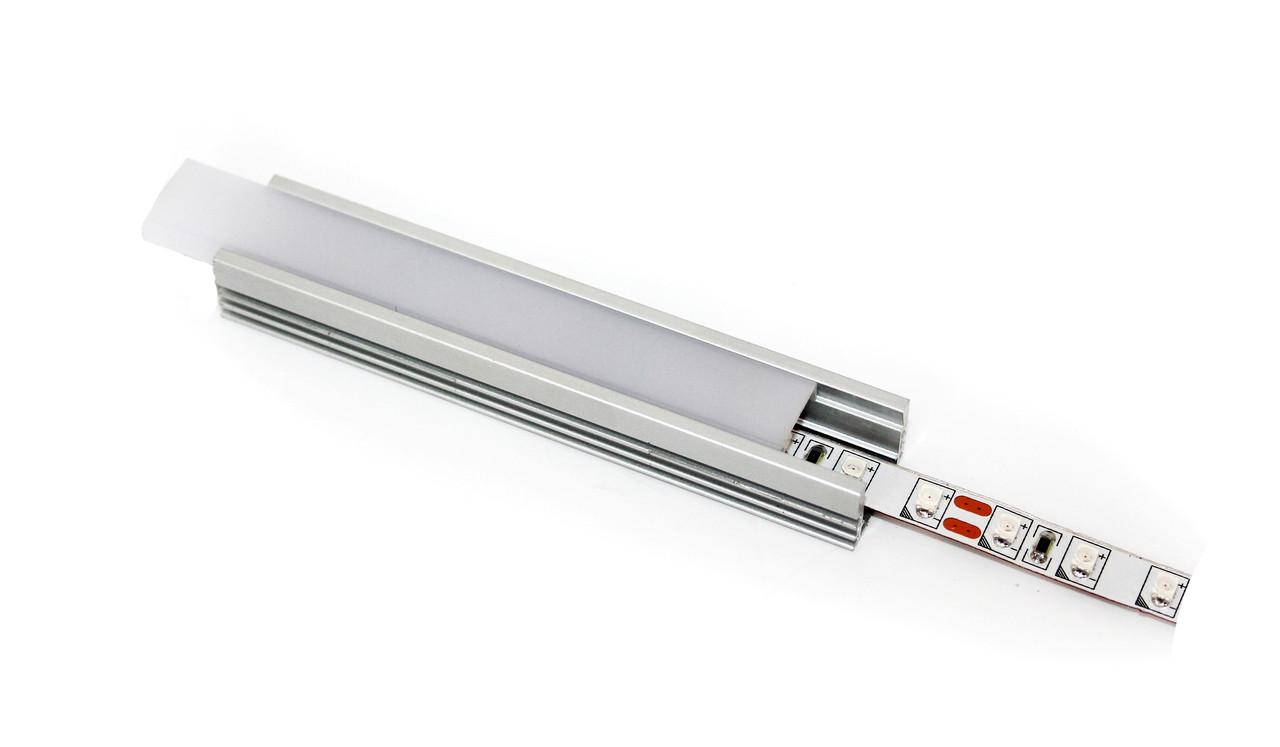 Алюминиевый профиль для подсветки в комплекте с рассеивателем  (накладной)