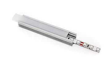 Алюминиевый профиль для подсветки в комплекте с рассеивателем  (накладной, 17,5*12мм)