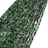 Цоизит с натуральным рубином, гранёный, 4мм, фото 3