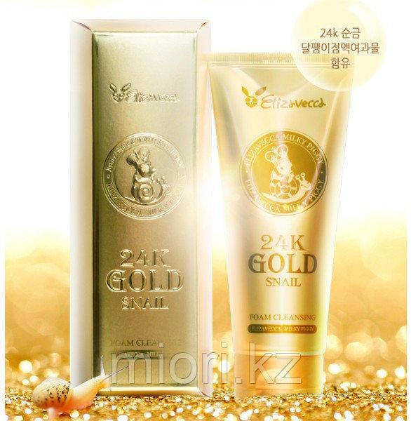 Пенка для умывания с муцином улитки и золотом Elizavecca 24k Gold Snail Cleansing Foam,180мл
