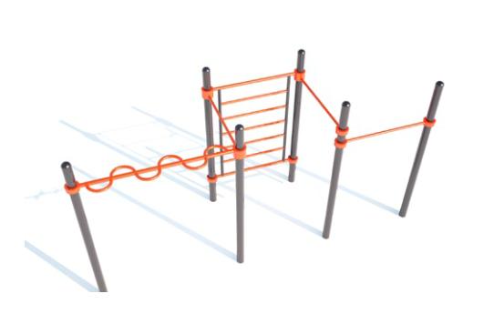 Секция из змейки, шведской лестницы и трех высоких перекладин Aw-023
