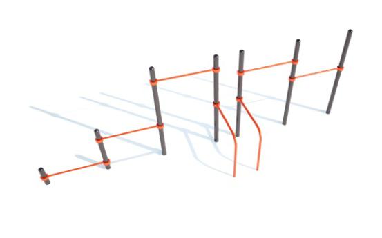 Секция из брусьев овальных, трех высоких, средней и низкой перекладины