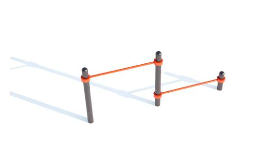 Перекладина двойная разноуровневая средняя и низкая  Aw-002