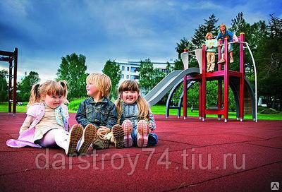 Резиновое покрытие для детских площадок-плитами