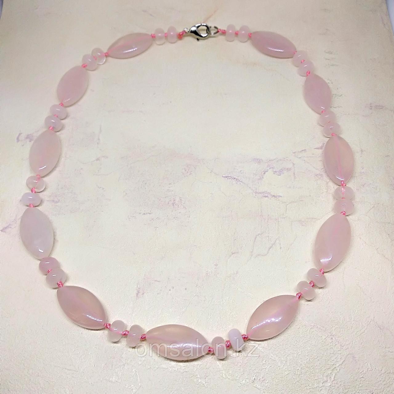 Бусы из натурального розового кварца