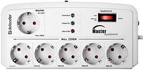 Сетевой фильтр Defender DFS 801 Master/Slave - 2,0 М, 6 розеток, серый (управление электропитанием)