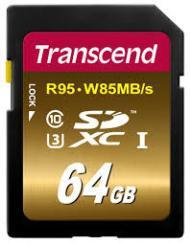 Карта памяти SD 64GB Class 10 U3 Transcend TS64GSDU3X