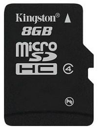Карта памяти MicroSD 8GB Class 4 Kingston SDC4/8GBSP