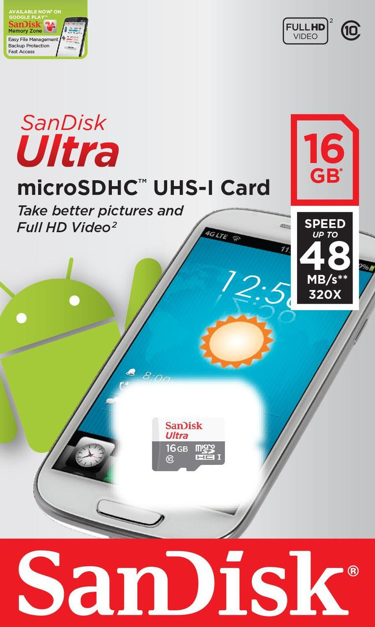 Карта памяти MicroSD 16GB Class 10 U1 SanDisk SDSQUNB-016G-GN3MN