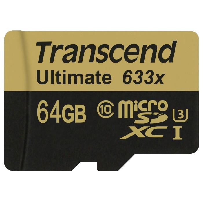 Карта памяти MicroSD 64GB Class 10 U3 Transcend TS64GUSDU3