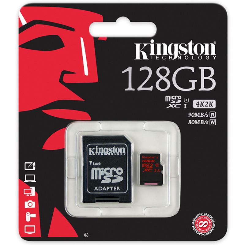 Карта памяти MicroSD 128GB Class 10 U3 Kingston SDCA3/128GB