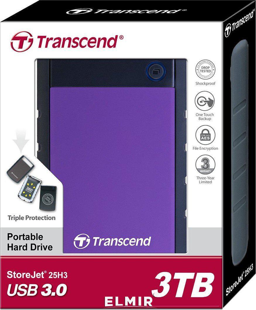 Внешний жесткий диск 2.5 3TB Transcend TS3TSJ25H3P