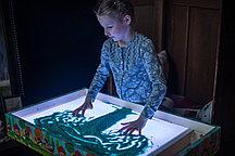 Планшет для рисования песком 50*70 с отсеком (54*88 см) (цветная LED подсветка + пульт + 2 кг песка)