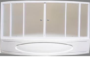 Шторка Luxe 153x153x140 хром/бел