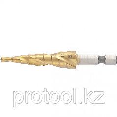 Сверло ступенчатое,4-5-6-7-8-9-10-11-12 мм, HSS, спиральный проф., шестигр. хвостовик// MATRIX