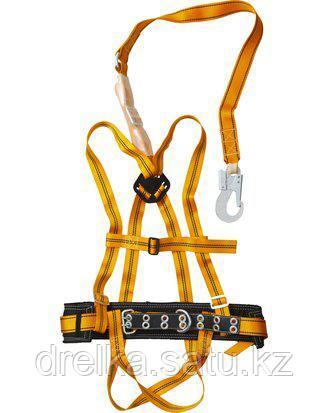 Страховочный монтажный пояс СИБИН 11563, ППДаА, лямочный, материал стропы - лента, с наплечными и набедренными