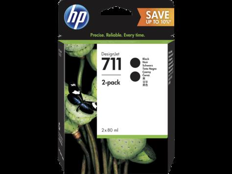 HP P2V31A Струйный картридж HP 711 для DesignJet T120/T520, 80 мл, Черные (Упаковка 2 шт.)