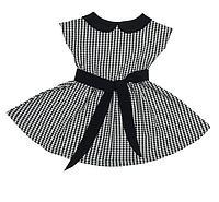Платье детское в клетку короткий рукав Летний блюз Девочкам