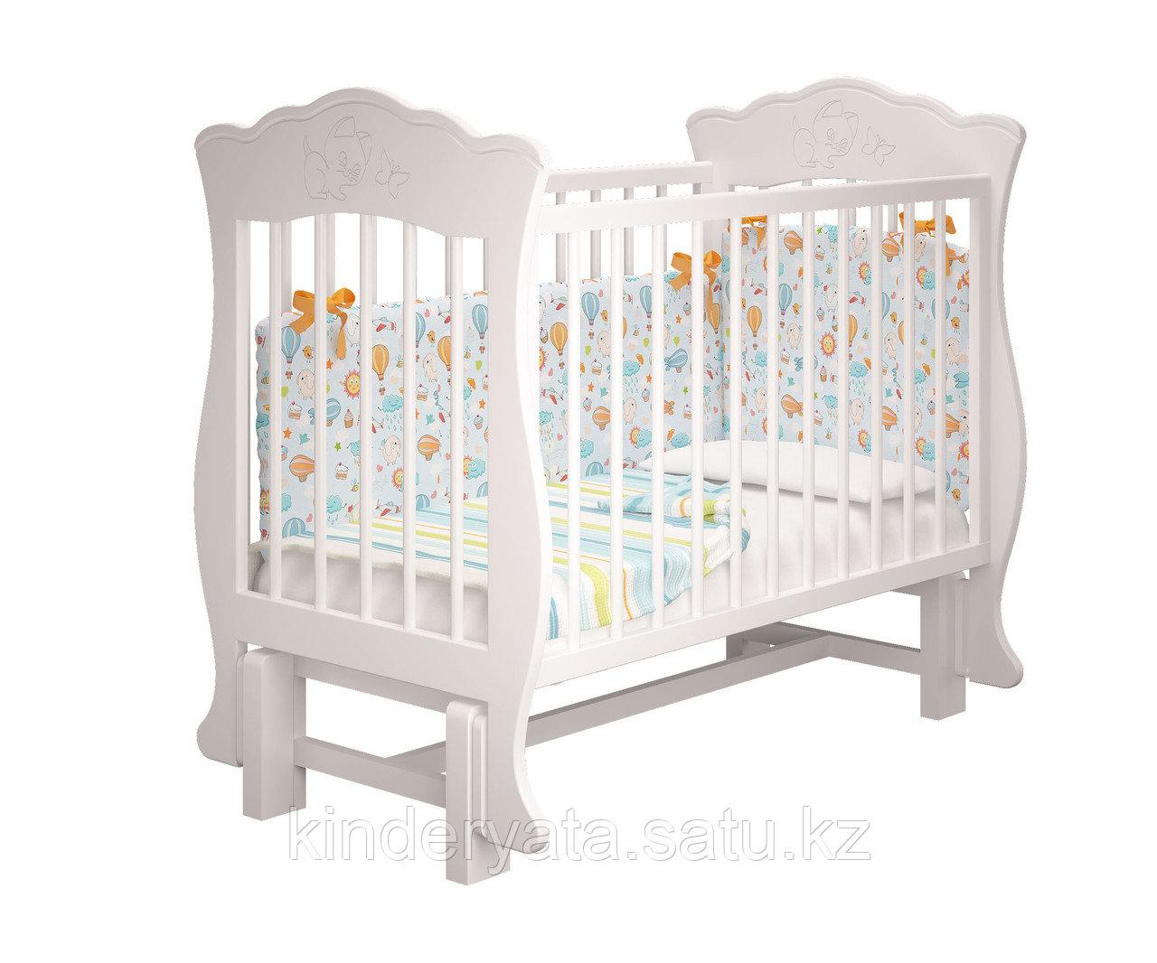 Детская кроватка Елена 2 без ящика (белая,слоновая кость)
