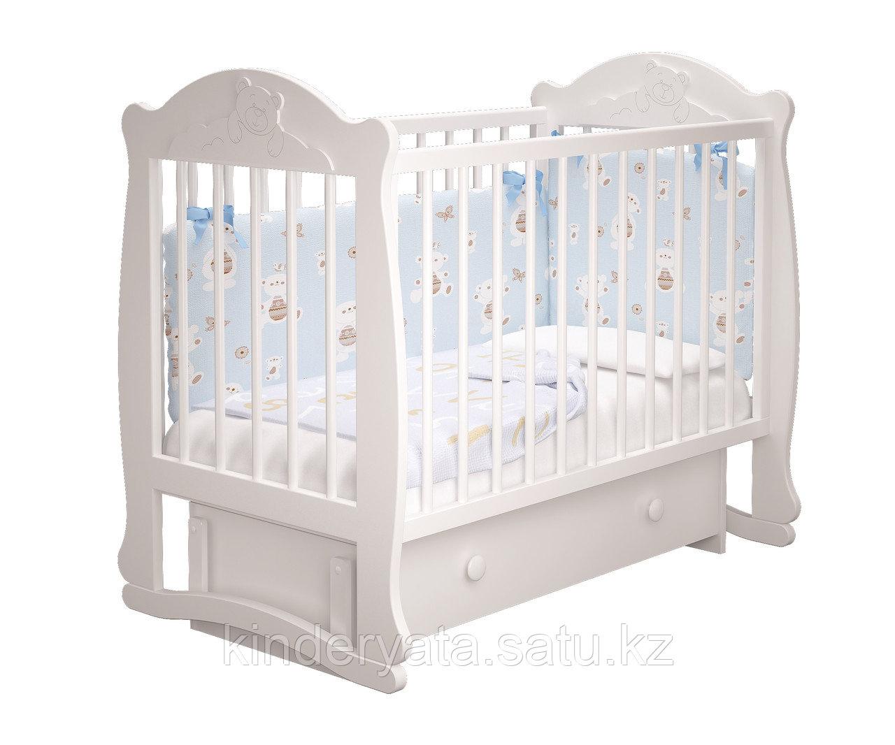 Детская кроватка  Мишутка-3 с ящиком(белый,слоновая кость)