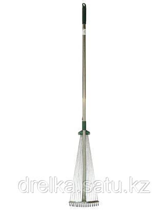 Грабли веерные RACO 4231-53/743, регулируемые с ручкой 1,2 м, 15 круглых зубцов, гальванизированное покрытие