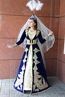 Казахский национальный камзол на узату | тёмно-синий с орнаментом