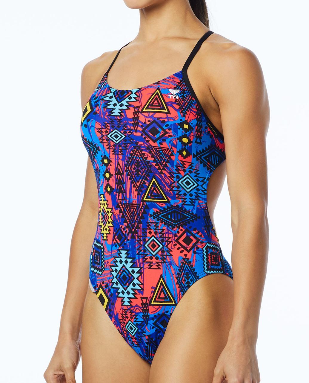 Купальник TYR Women's Santa Ana Cutoutfit Swimsuit цвет 004 Черный/Мульти размер 26