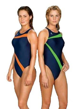 Слитный купальник TYR Poly Lumina Vaporback цвет зеленый/синий