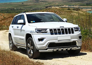 Защита переднего бампера d76+d57 с профильной защитой картера Jeep Grand Cherokee 2013-
