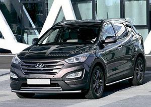 Защита переднего бампера d57+d42 Hyundai Santa Fe 2012-2016