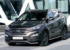 Защита переднего бампера d57 волна Hyundai Grand Santa Fe 2012-2016