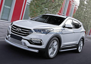 Защита переднего бампера 75x42 овал длинная Hyundai Santa Fe Premium 2015-2016