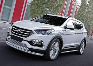 Защита переднего бампера d57+d42 Hyundai Santa Fe Premium 2015-2016