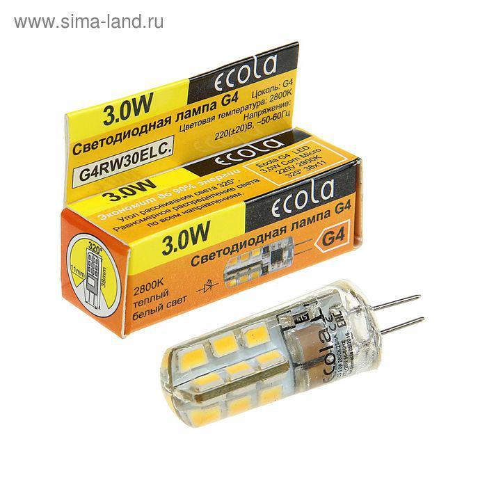 Лампа светодиодная Ecola Corn Micro, 3 Вт, G4, 2800 K, 320°, 40х15 мм - фото 1