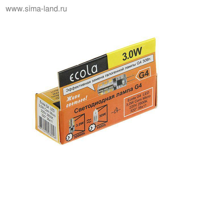 Лампа светодиодная Ecola Corn Micro, 3 Вт, G4, 2800 K, 320°, 40х15 мм - фото 2
