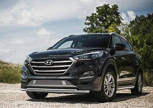 Защита переднего бампера d57+d42 Hyundai Tucson 2015-