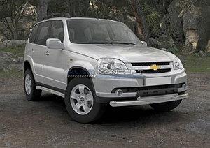 Защита переднего бампера d76+d57 Chevrolet Niva 2009-