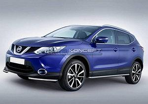 Защита переднего бампера d57 уголки Nissan Qashqai 2013-