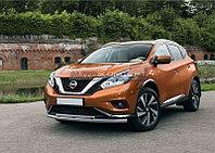 Защита переднего бампера d57+d42 Nissan Murano 2016-