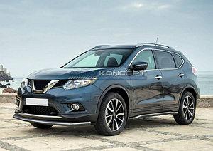 Защита переднего бампера d57 длинная Nissan X-Trail 2015-