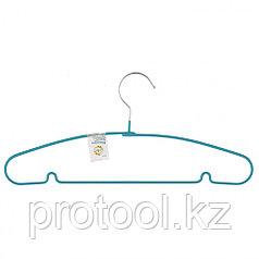 Вешалка для легкой одежды с прорезиненным противоскользящим покрытием 40 см, бирюзовая// ELFE