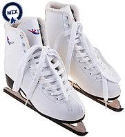 Фигурные коньки Teku с мехом белые