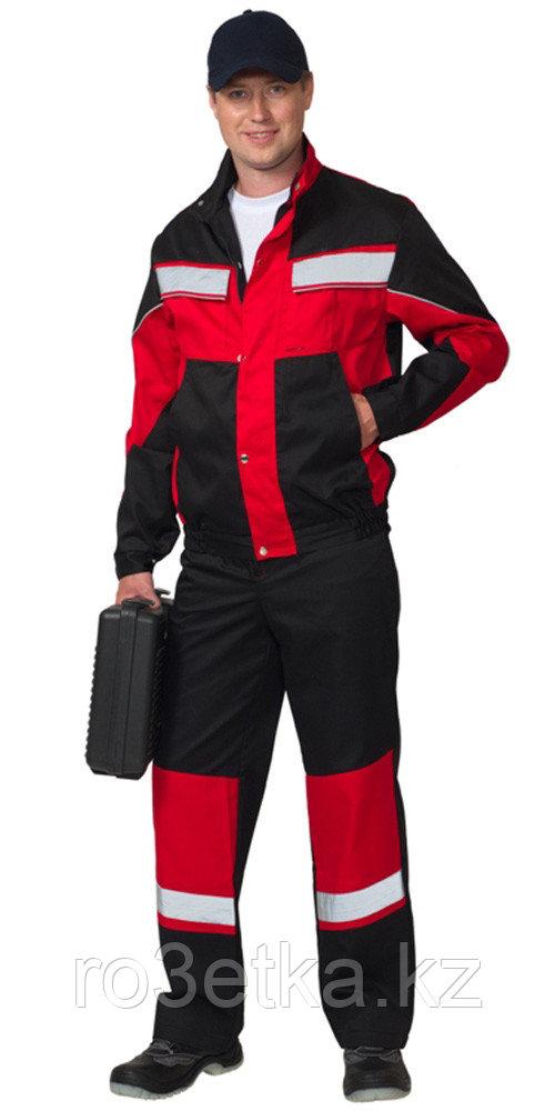 """Костюм """"ОРИОН"""": куртка, полукомбинезон чёрный с красным и СОП"""
