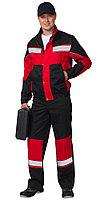 """Костюм """"ОРИОН"""": куртка, полукомбинезон чёрный с красным и СОП, фото 1"""
