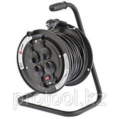 Удлинитель силовой на кабельной катушке, серия EB, 25м, 4 розетки с крышкой, IP44 // Stern