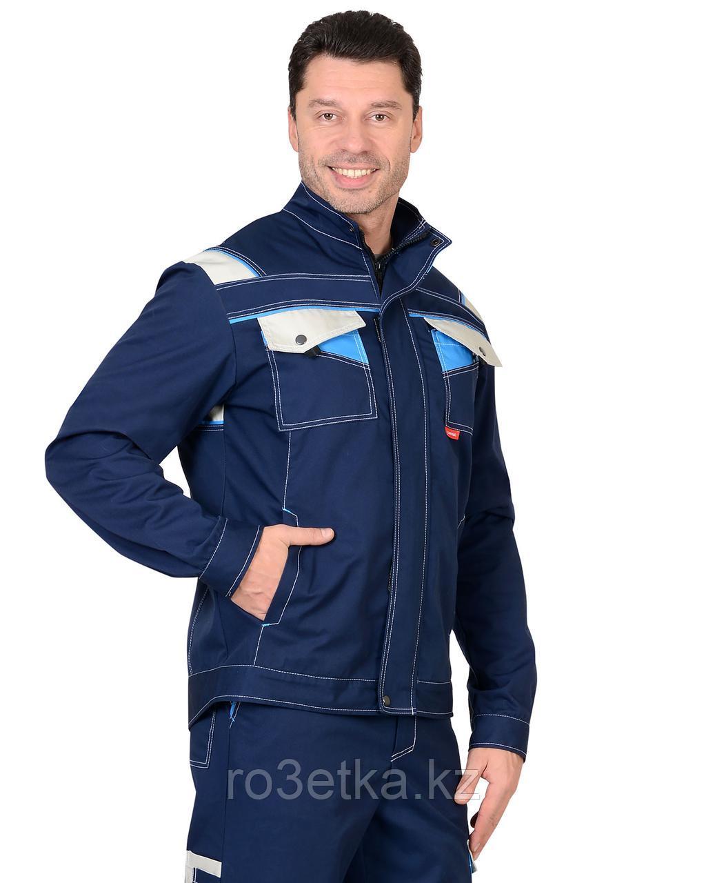 """Костюм """"ПЕРСЕЙ"""": куртка кор., брюки, т.синий с молочным и голубым"""