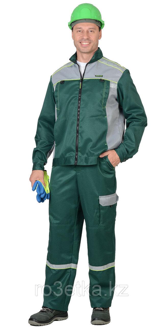 """Костюм """"ПРАКТИК-1""""летний, куртка, п/к., зеленый с серым тк.CROWN"""