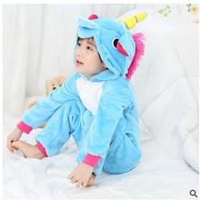 Детская пижама кигуруми единорог голубой