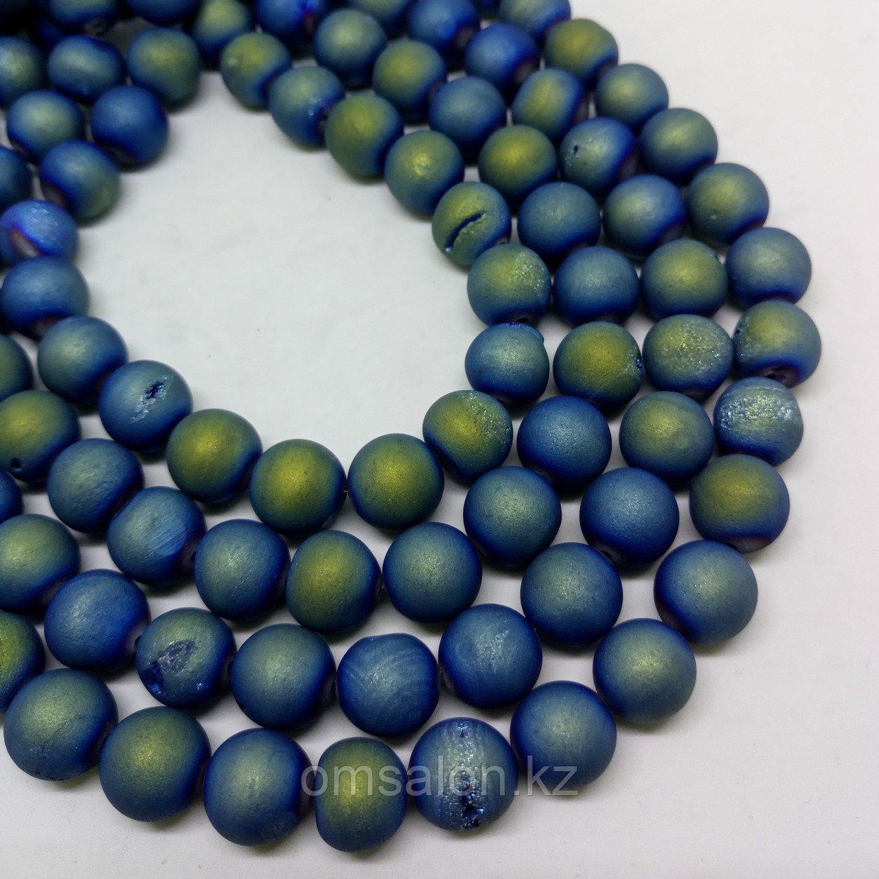 Агат голубой матовый с бензин. напылением 10 мм