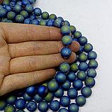 Агат голубой матовый с бензин. напылением 10 мм, фото 2